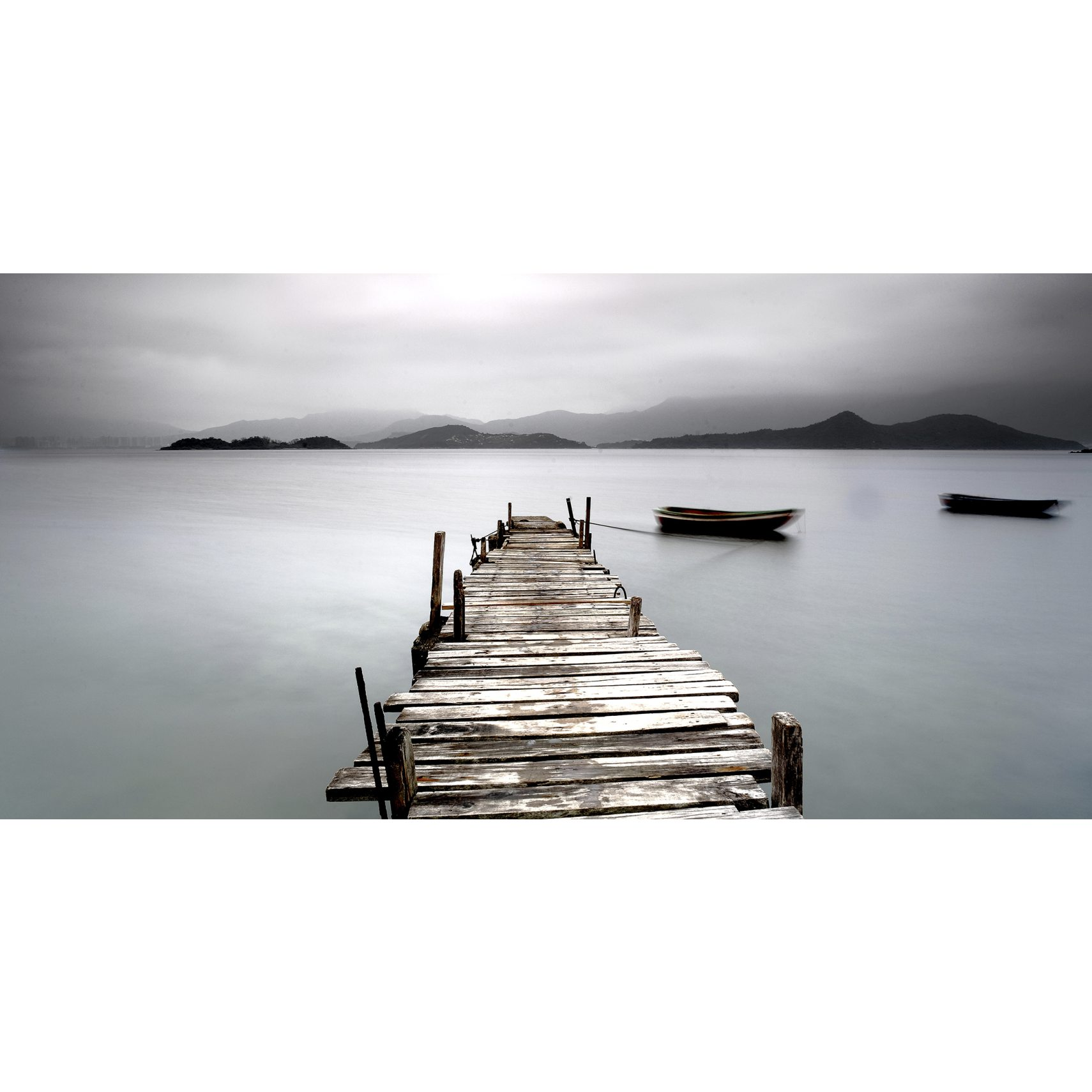 PhotoInc Fotoprint - Lake Pier og blind ramme