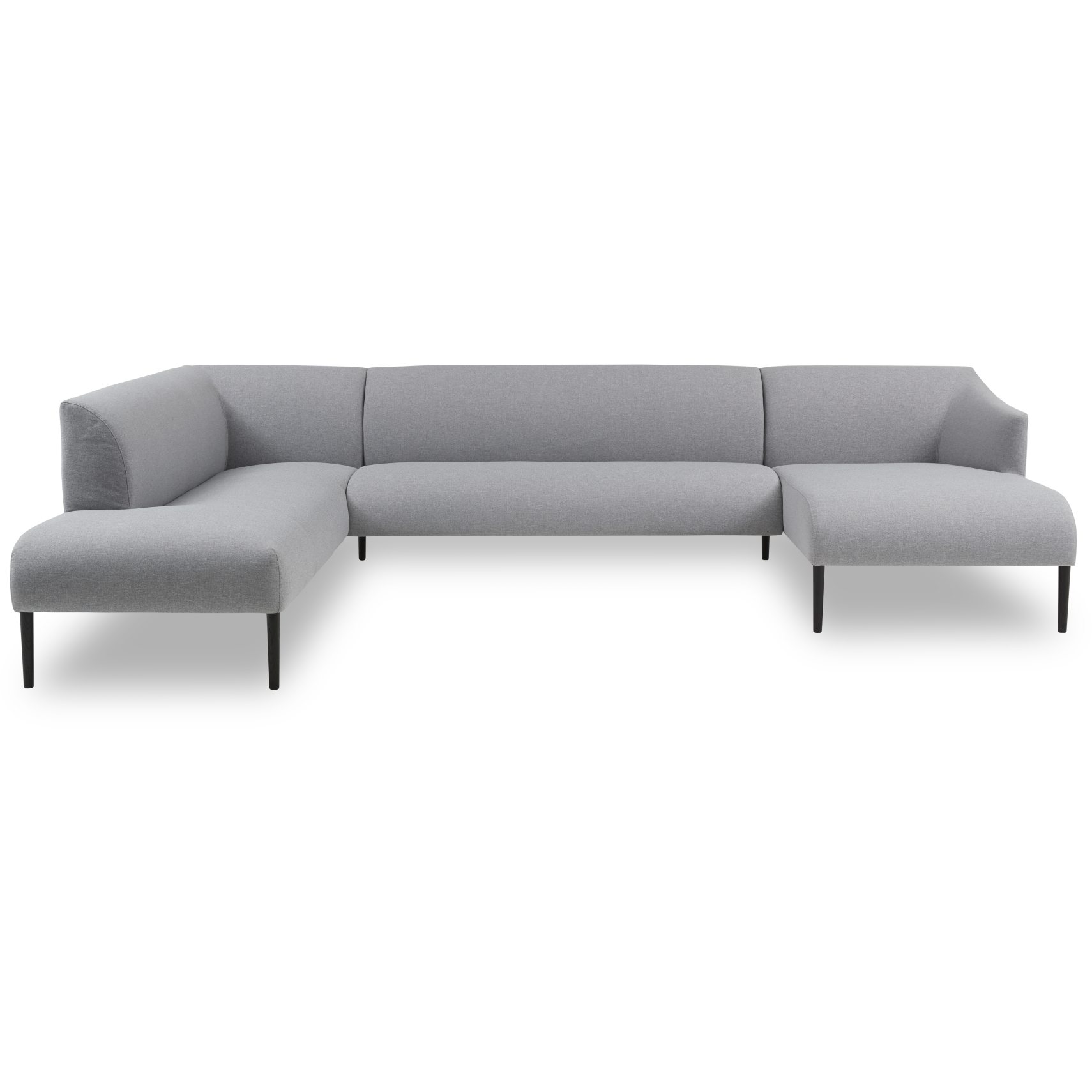 Sessa Hjørnesofa med chaiselong - Spy 331 Light grey stof og ben i sortbejdset eg