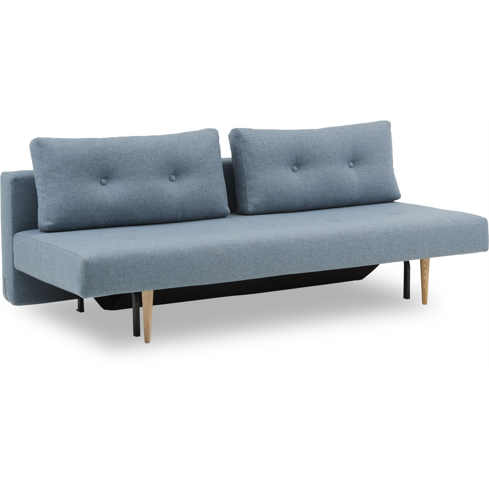 Recast Plus Sovesofa - Mixed Dance 525 Light Blue og styletto ben i lyst træ