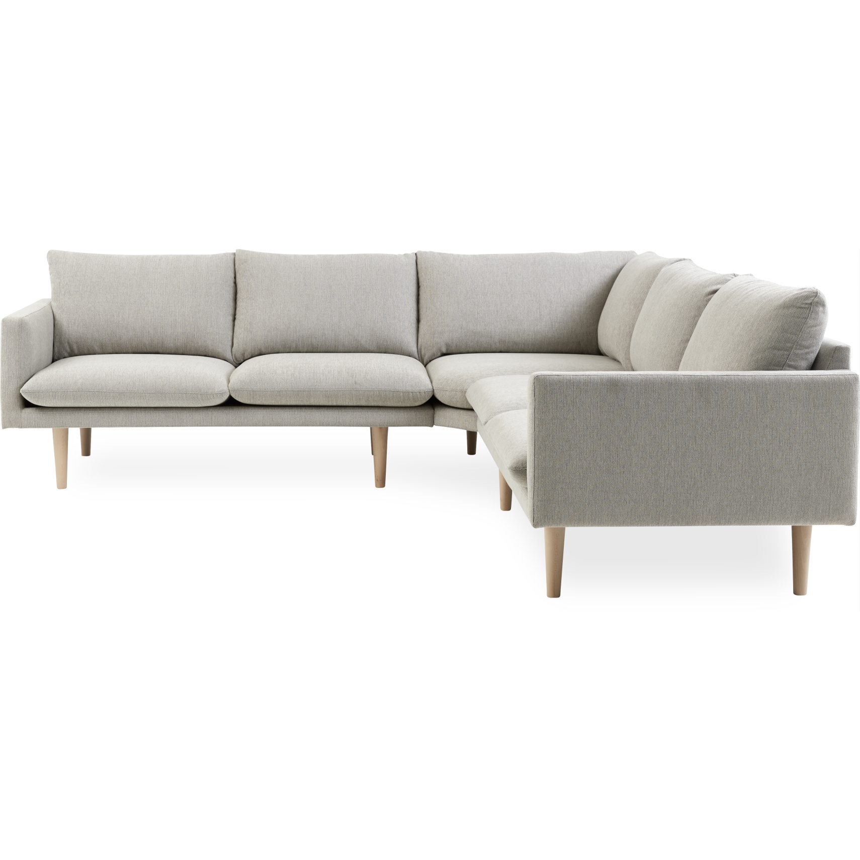 California Hjørnesofa - Chile 70 Light Grey stof og ben i ubehandlet bøg