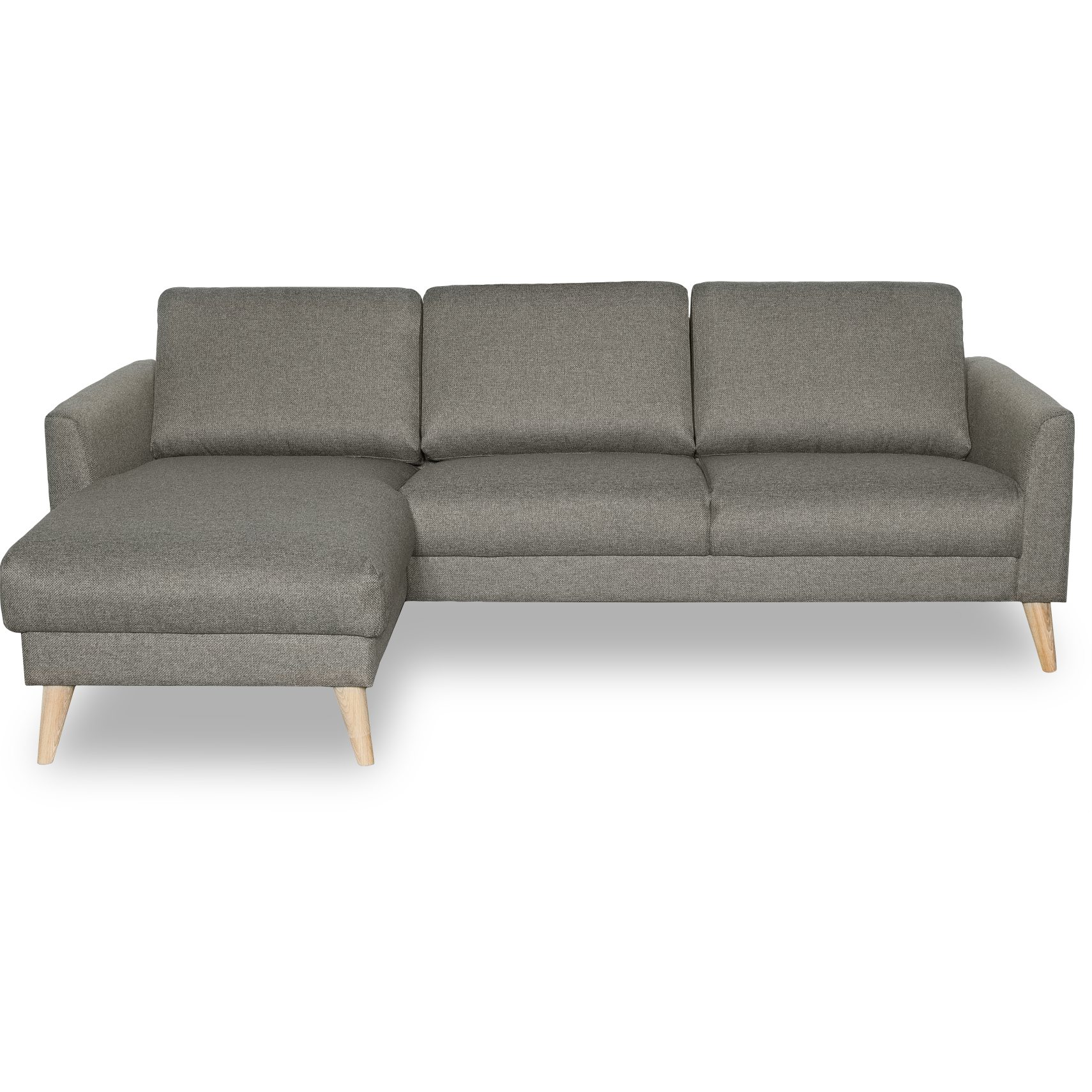Lotus Sofa med chaiselong - Golf Deep Green stof og ben i hvidolieret eg