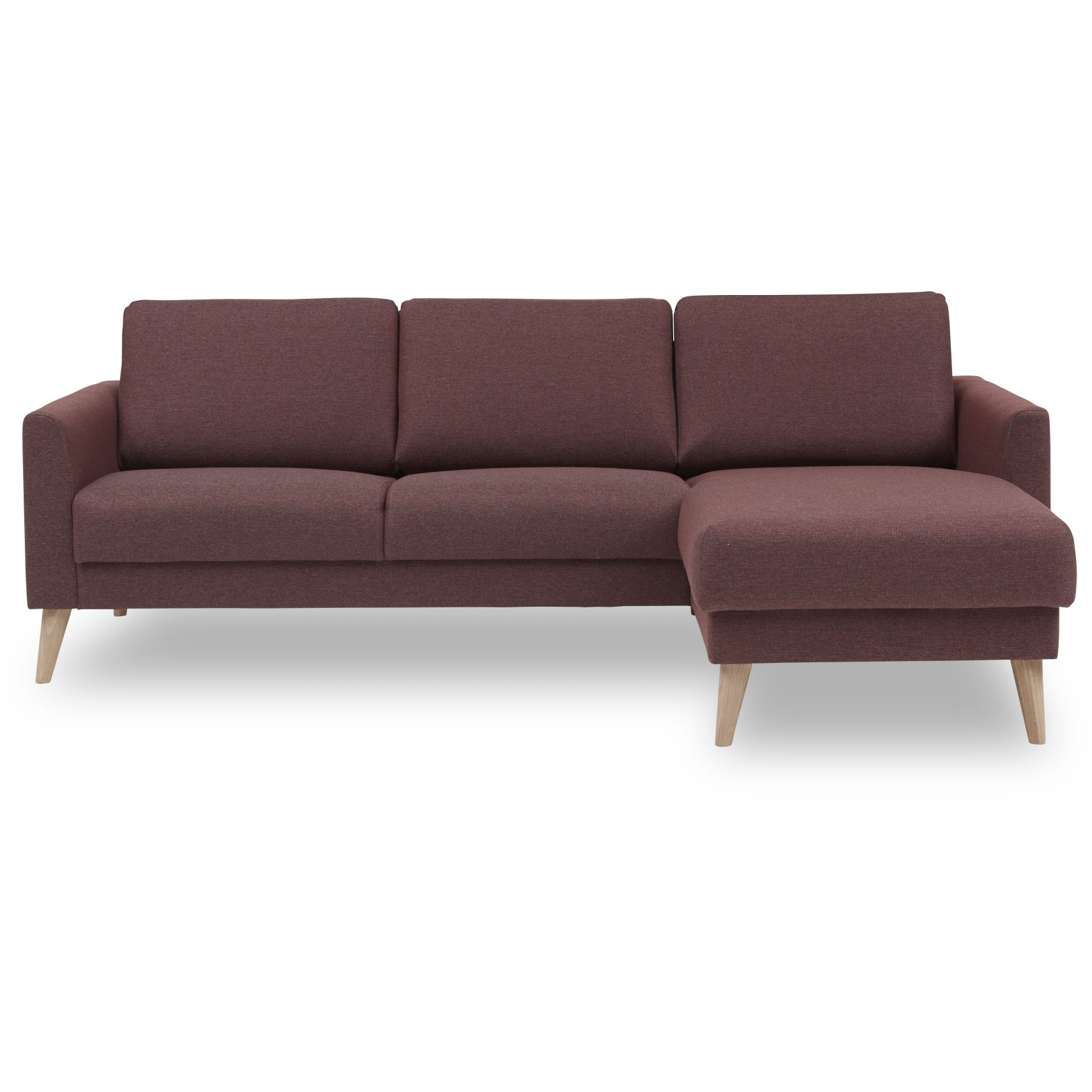 Tushka Sofa med chaiselong - Golf Apple stof og ben i hvidolieret eg