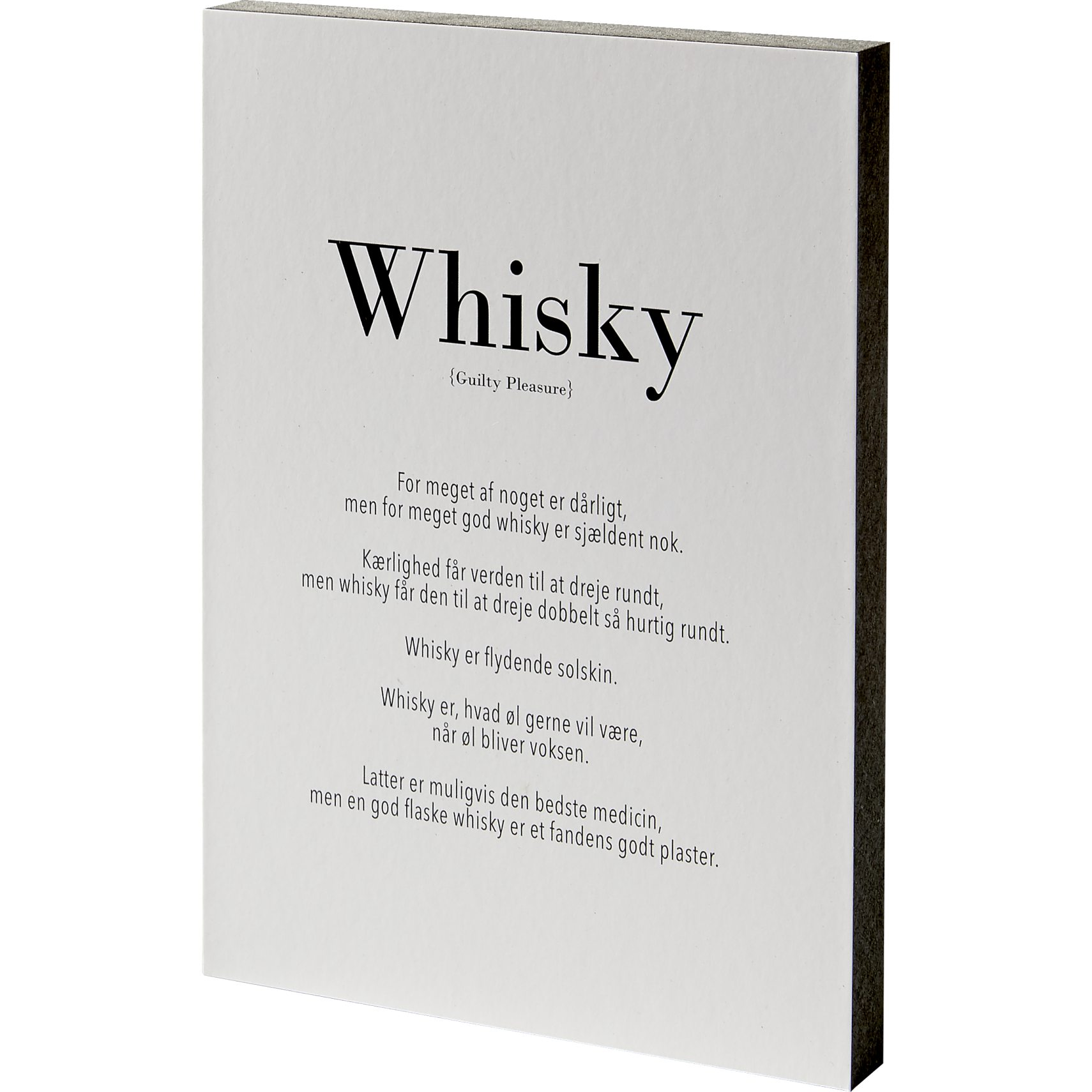 Guilty pleasure Skilt 15 x 21 x 2 cm - MDF klods og Whiskey