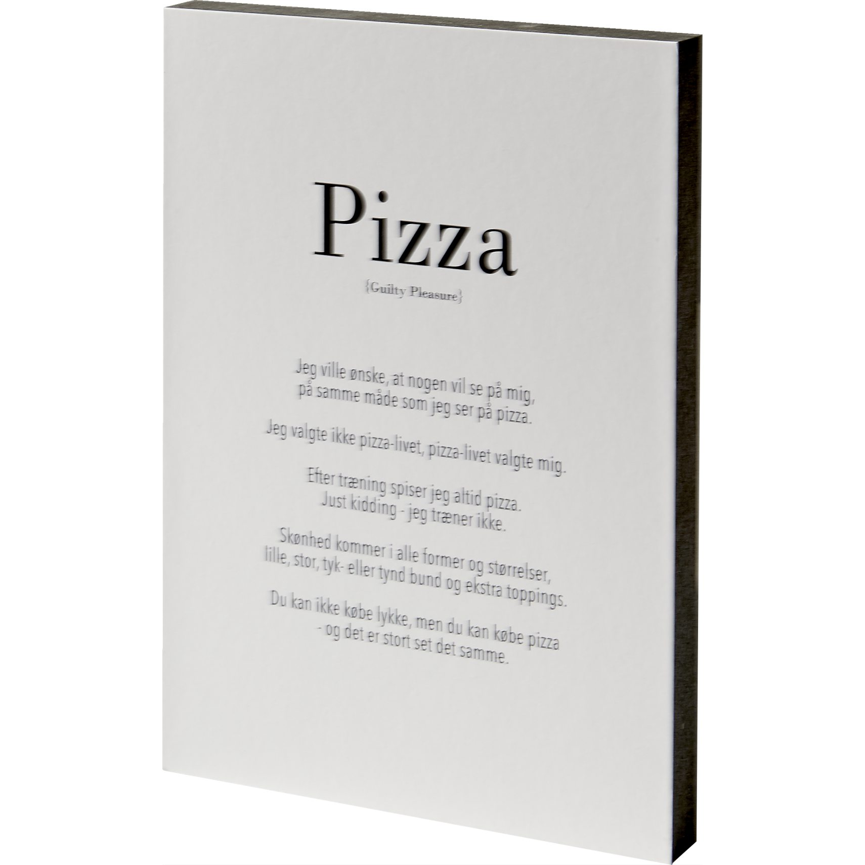 Guilty pleasure Skilt 15 x 21 x 2 cm - MDF klods og Pizza