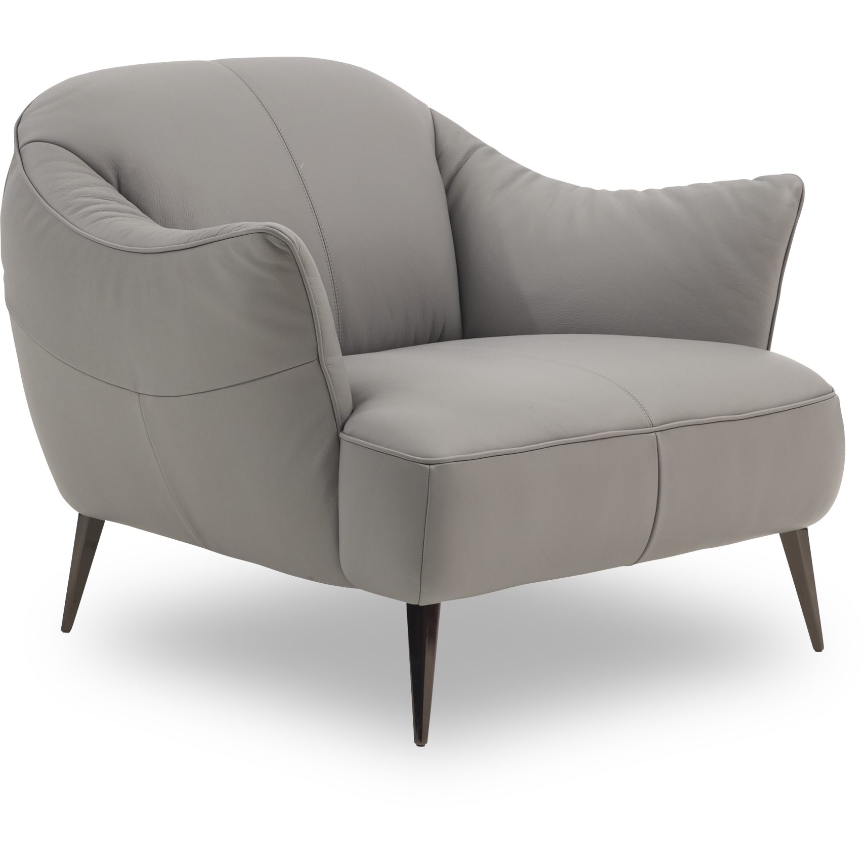 Natuzzi Editions C120 003 Lænestol - Pasadena Light Grey læder og ben i sort krom