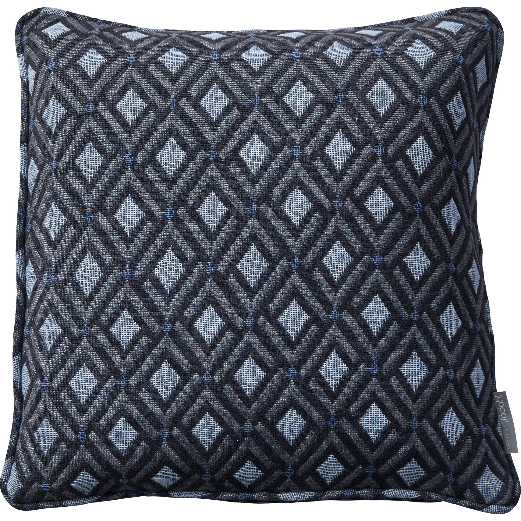 Södahl Checkered Pude 50 x 50 cm - Ashley blue/bering sea bomuld og geometrisk mønster