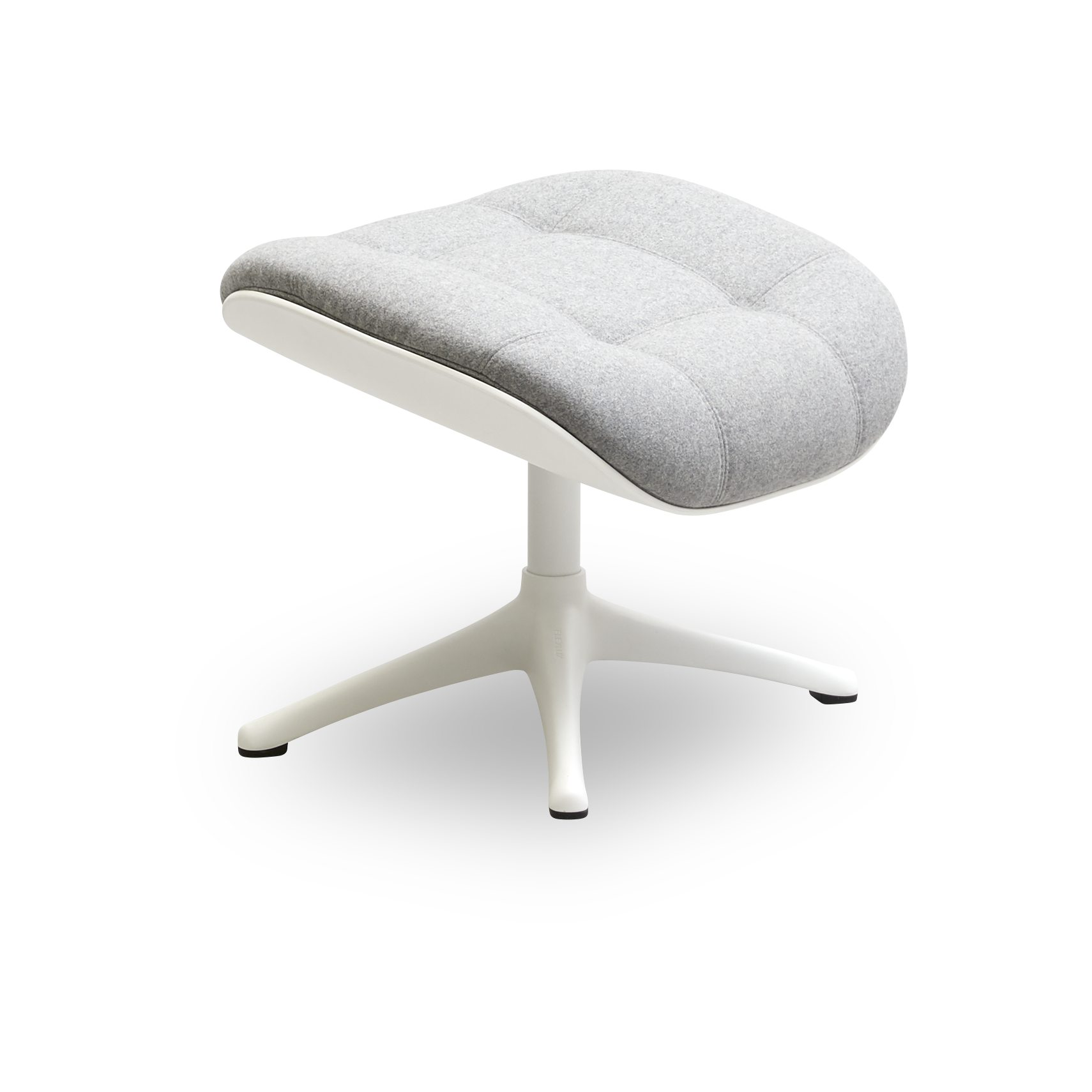 FLEXLUX® Chester Fodskammel - Lana Wool 1523 Light Grey stof, skal i Winter White komposit og sokkel i hvidlakeret aluminium
