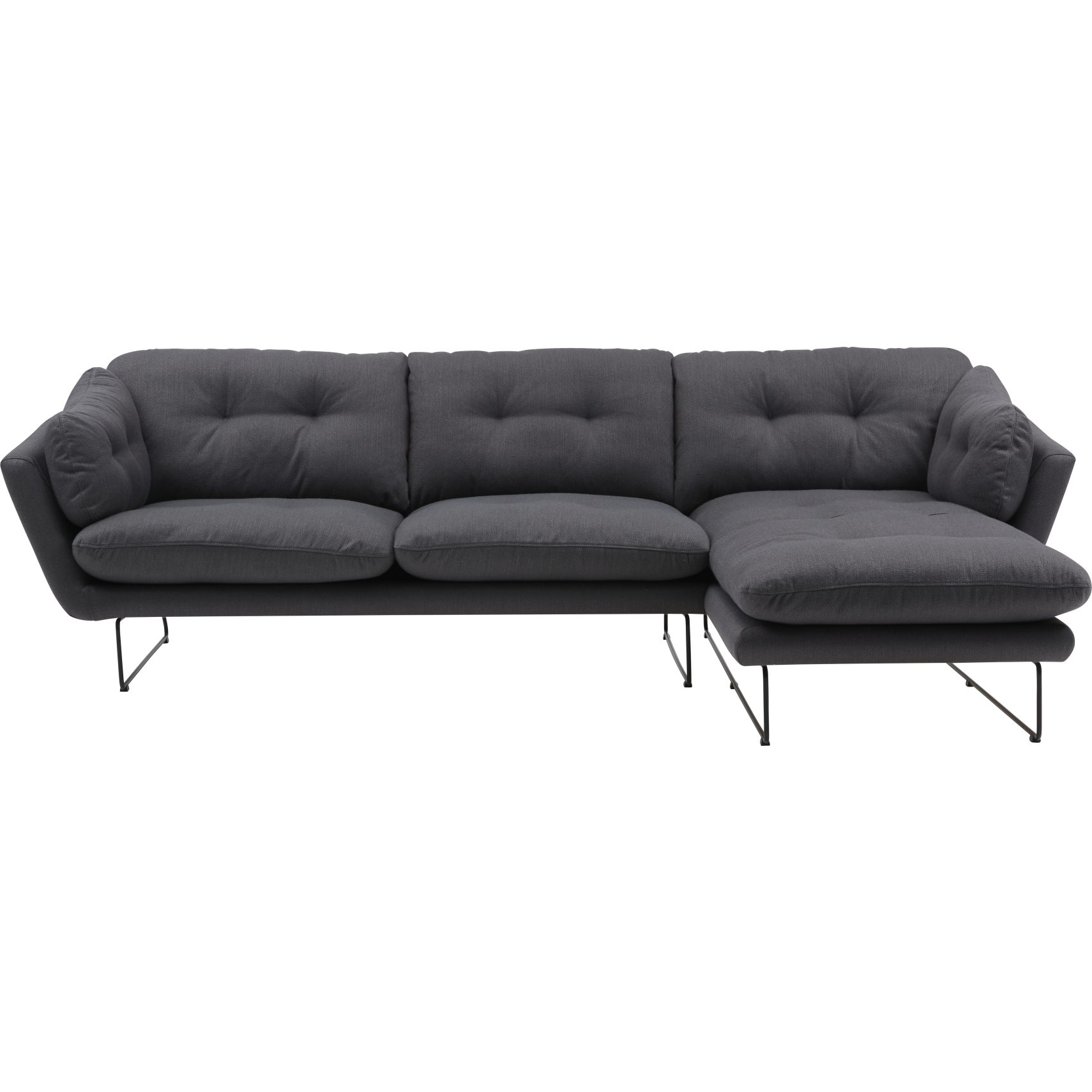 Condor Sofa med chaiselong - Ambra 302-04 Antracit stof og ben i sort metal