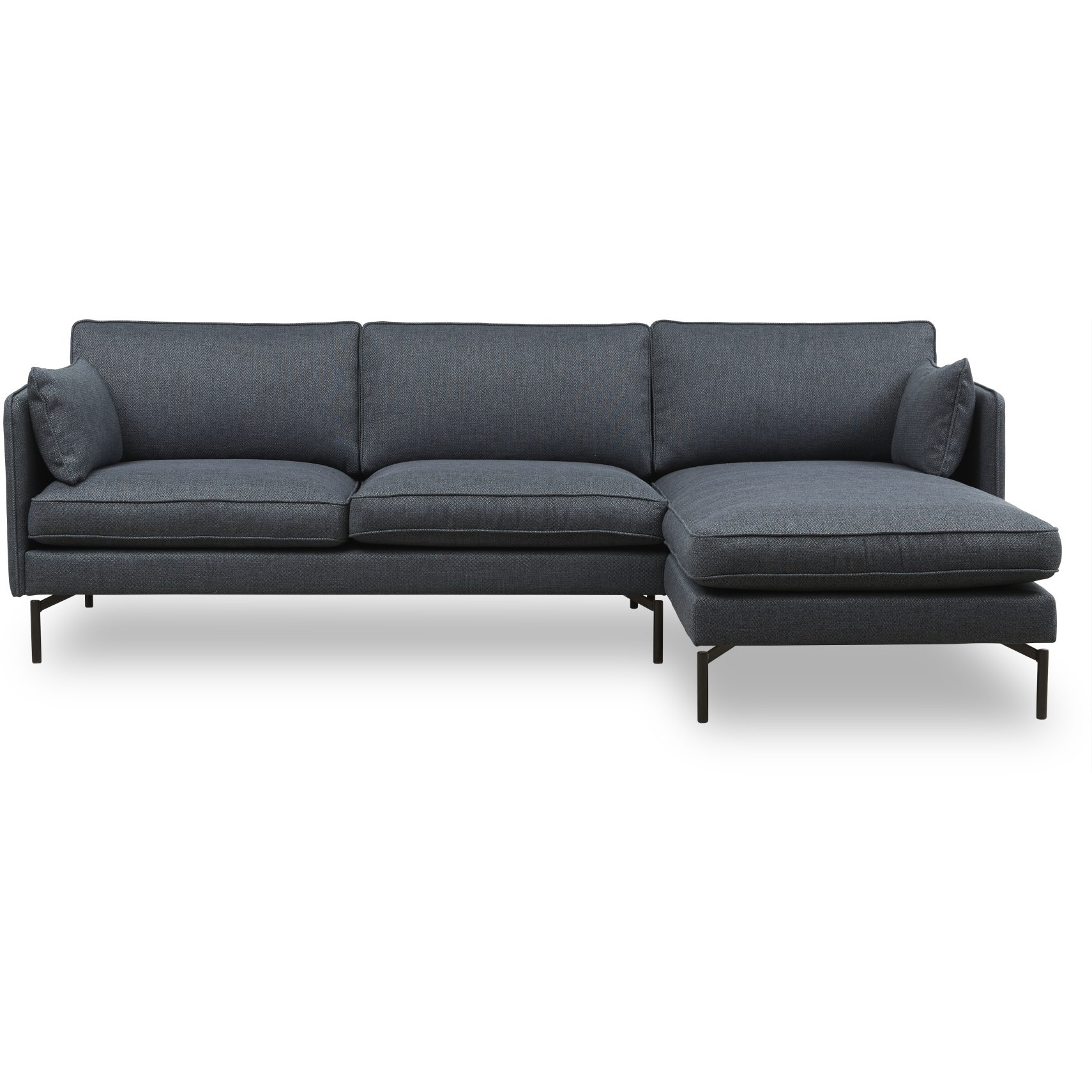 Tebis Sofa med chaiselong - Side 148 Blue stof og ben i sort metal