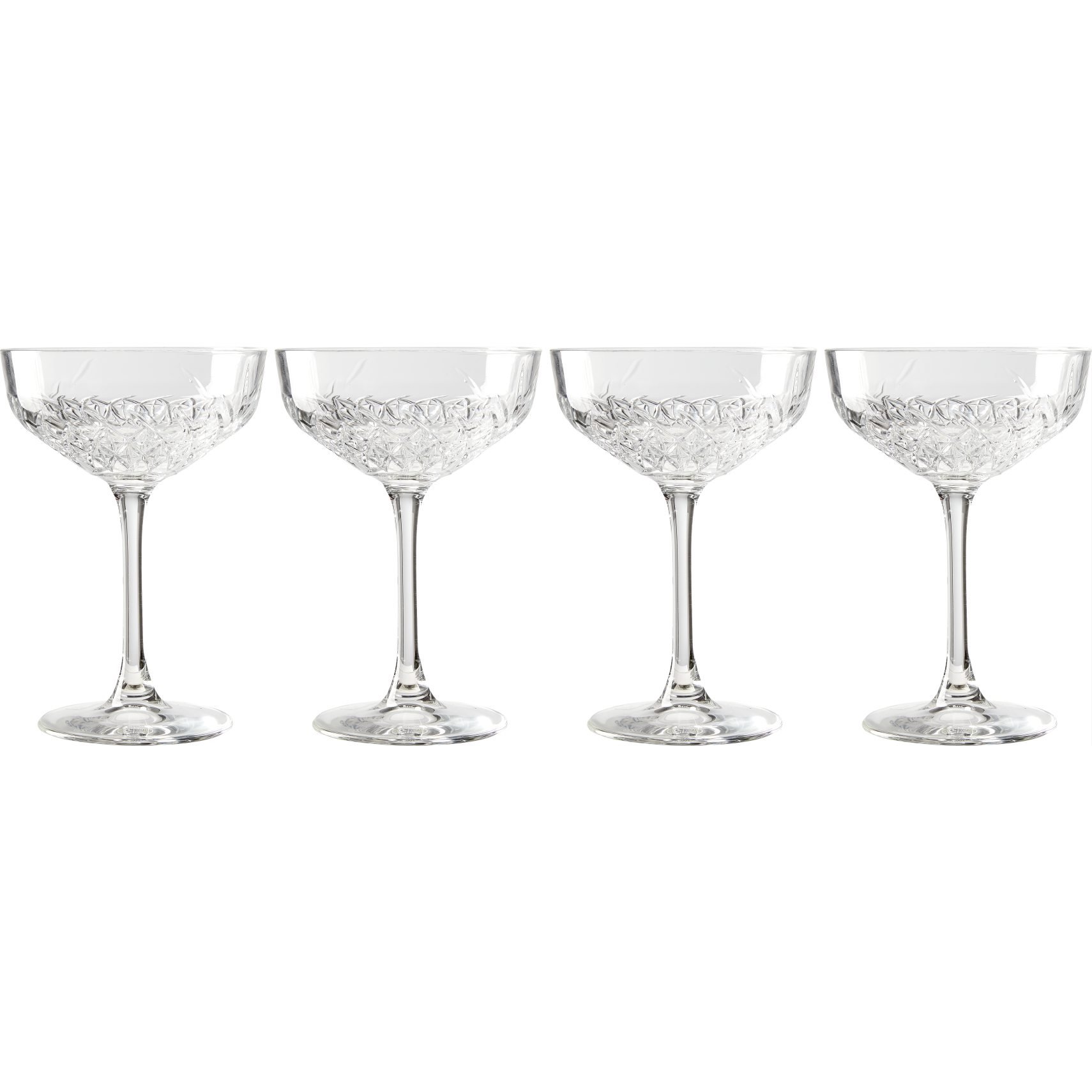 Demantur Cocktailglas - Klar glas og facetslebet mønster