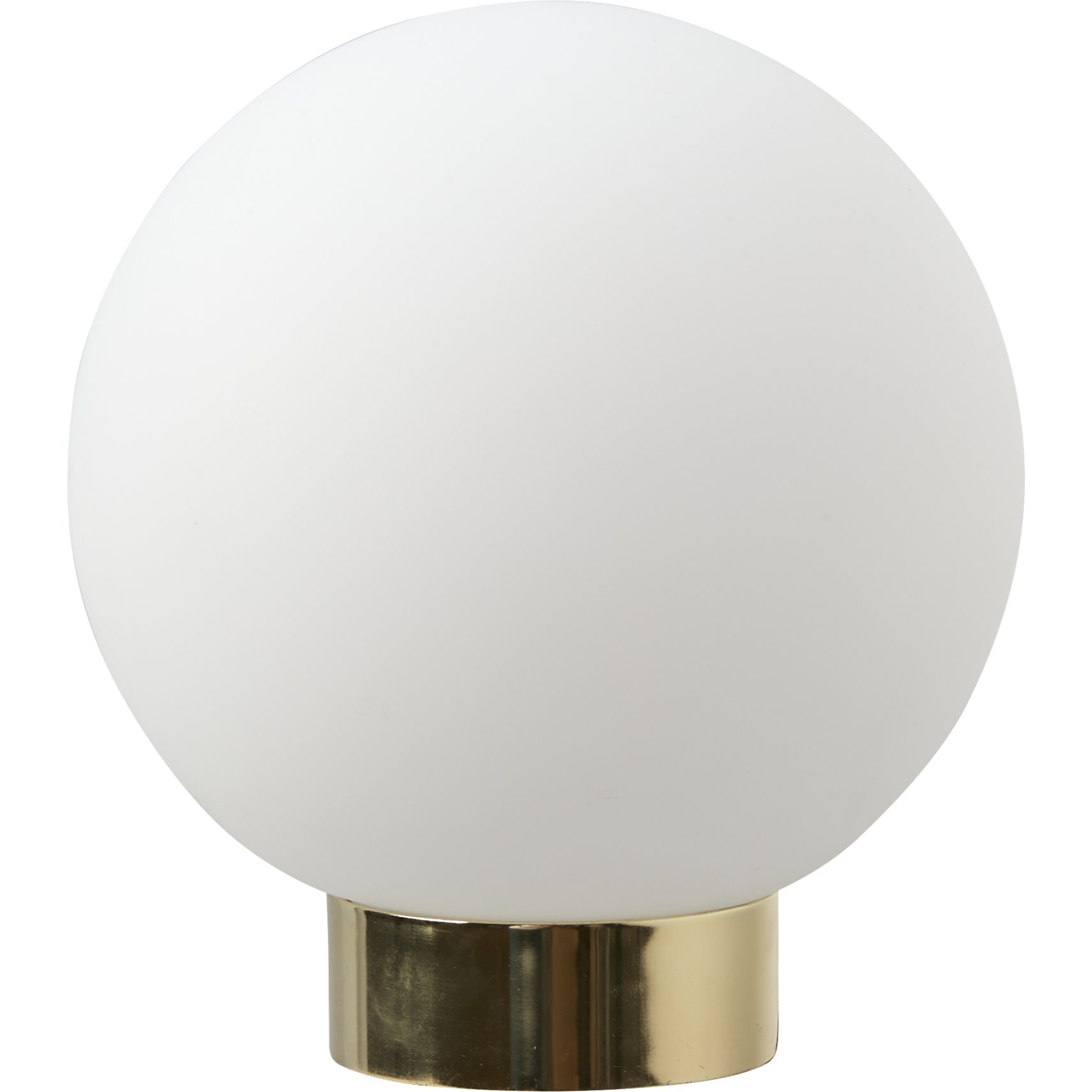 Aura Bordlampe - Messing base, opal glaskugle og sort ledning