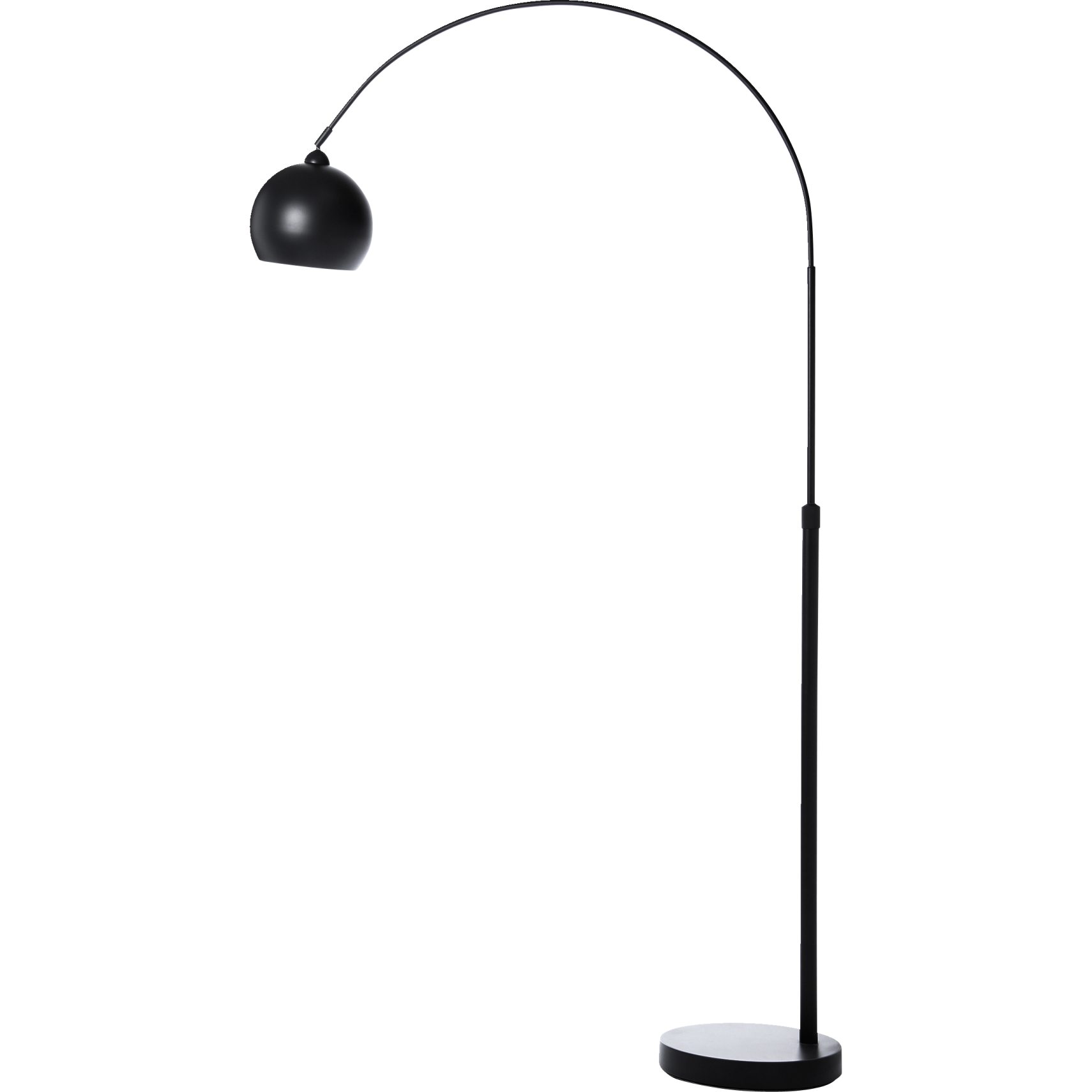 Mini lounge Gulvlampe 190 x 23 cm - Mat sort metalskærm og base og transparent ledning